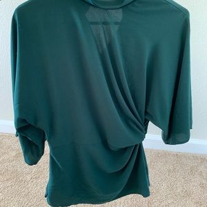 Green Topshop ruched side wide sleeve shirt